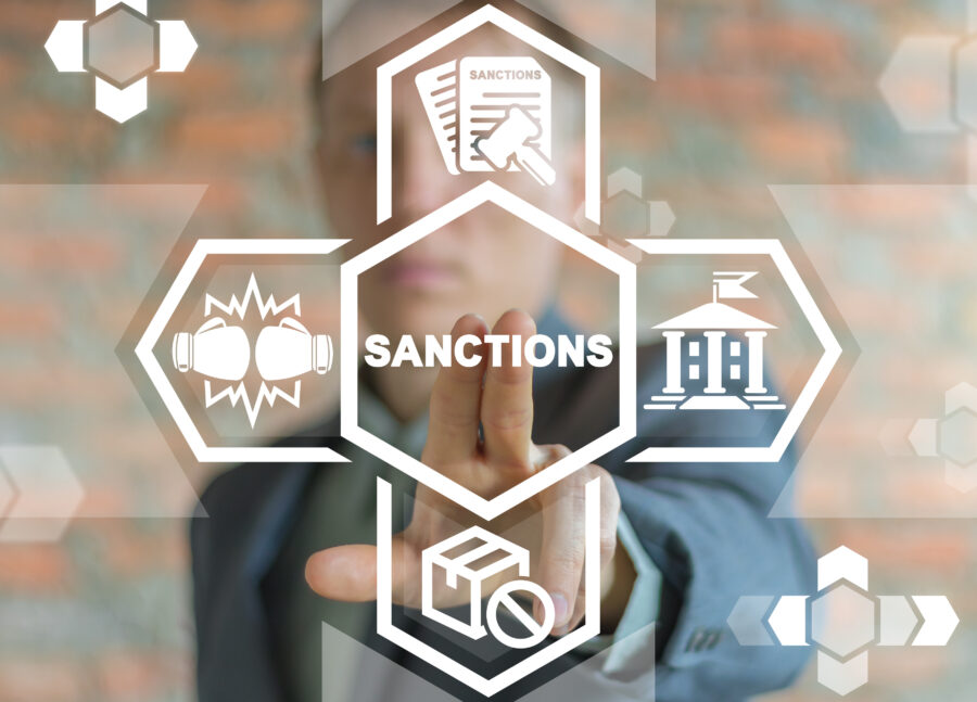 Political And Economy Concept Of Sanctions. Sanction List Government.
